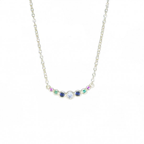 Sterling silver bar necklace with gold plating and colored zircon  04071496