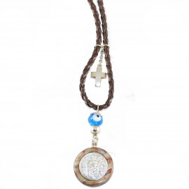 Saint Christopher a two-sided silver amulet with the image of the Virgin Mary crystallizing for greater endurance STCH6