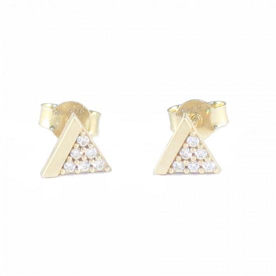 Σκουλαρίκια χρυσά τρίγωνα Κ14 με λευκά ζιργκόν λουστραριστά