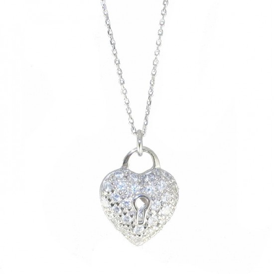 Sterling silver necklace with platinum heart and white zircon 40-45cm Length