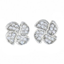 Sterling silver flower design earrings with white zircon SKA1630