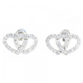 Sterling silver earrings with hearts design and white zircon SKA1115