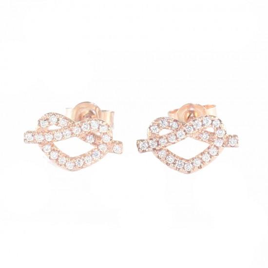 Σκουλαρίκια ασημένια με σχέδιο καρδιές  λευκά ζιργκόν και ροζ επιχρύσωμα S1804R
