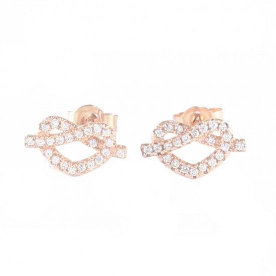 Sterling silver earrings with white zircon hearts and rose gold plating S1804R