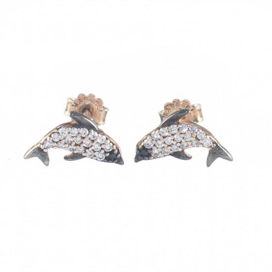 Σκουλαρίκια ασημένια με σχέδιο δελφίνια λευκά ζιργκόν και ροζ επιχρύσωμα DRPW3750
