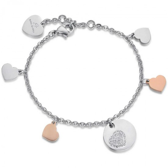 Valentine's bracelet with hearts with white stainless steel crystals BK1802