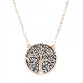 Silver tree of life necklace rose gold plated black platinum and white zircon 40-45cm Chain Length