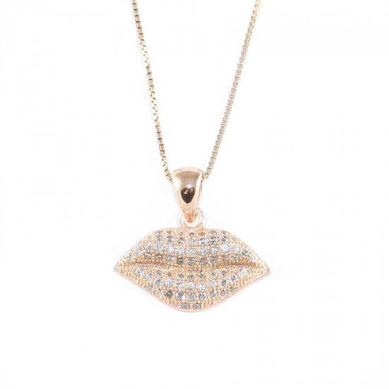 Sterling silver necklace with lips design with white zircon and rose gold plating Chain Length 40-45cm