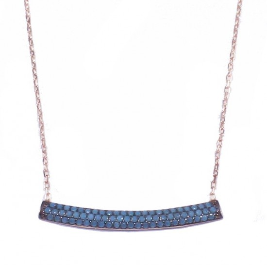 Sterling silver bar necklace with turquoise and rose gold plating Chain length 40-45cm