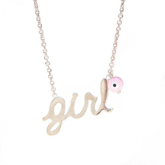 Silver necklace rose gold plated and enamel Chain length 40cm-45cm