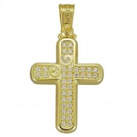 Σταυρός χρυσός Κ14 λουστραριστός και λευκά ζιργκόν για βάπτιση 1.2.1124