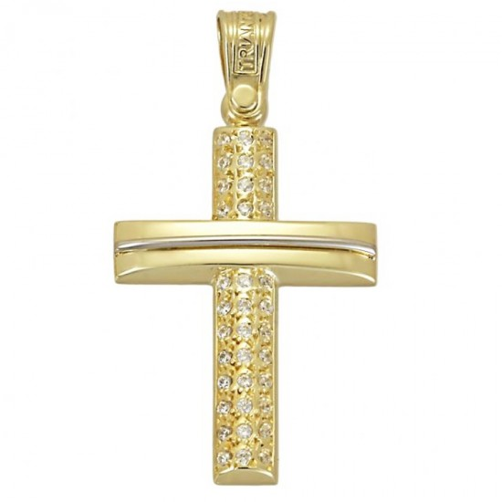 Polished gold K14 Cross and white zircon for christening or engagement 1.2.1172