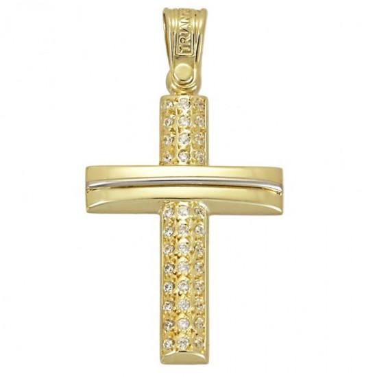 Σταυρός χρυσός Κ14 λουστραριστός και λευκά ζιργκόν για βάπτιση 1.2.1172