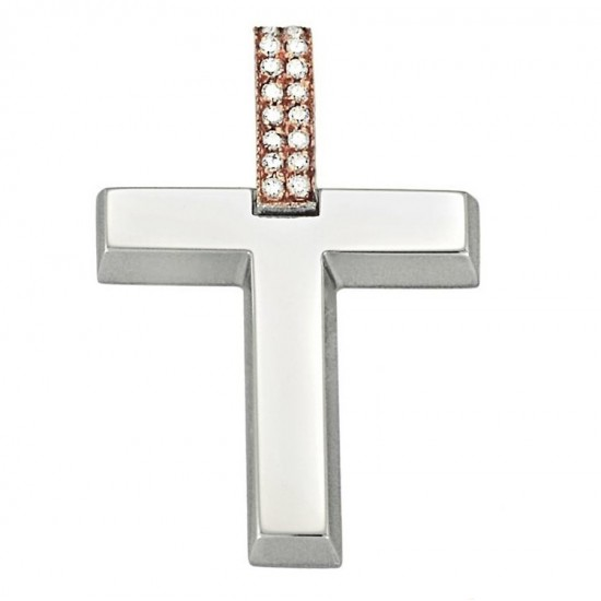 Cross K14 bicolor white and rose gold with white zircon for christening or engagement 1.2.1219