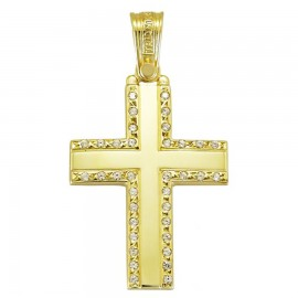 Polished gold K14 Cross and white zircon for christening or engagement 1.1.1250