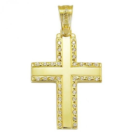Σταυρός χρυσός Κ14 λουστραριστός και λευκά ζιργκόν για βάπτιση 1.1.1250