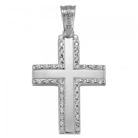 Polished white gold K14 Cross with white zircon for christening or engagement 1.1.1250W