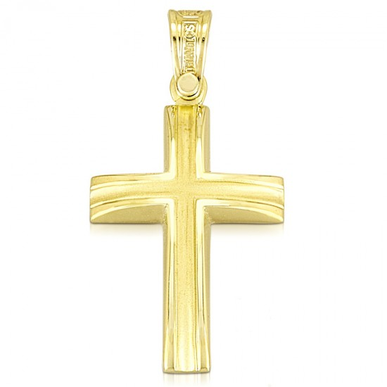 Polished gold K14 Cross and matte in the middle for christening or engagement 1.1.1022
