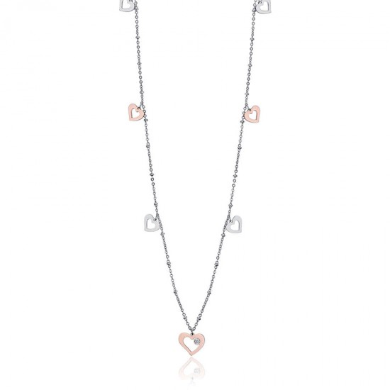 Necklace with heart symbol of Love in white and rose color in stainless steel Chain CK1427