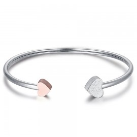 Bracelet with heart in pink and white glitter from stainless steel BK1880
