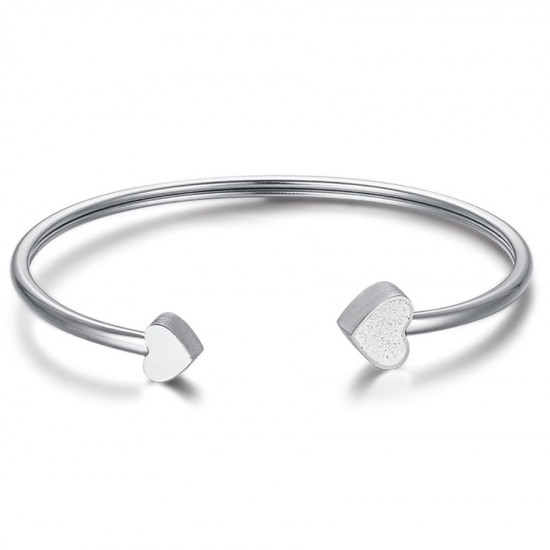 Bracelet with heart in white and white glitter from stainless steel  BK1879
