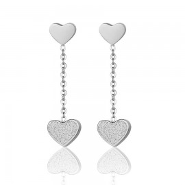 Earrings with love heart symbol in white stainless steel OK1048