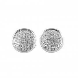 Sterling silver platinum round earrings with white zircon S1813W