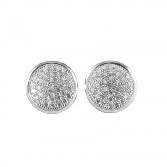 Σκουλαρίκια ασημένια στρογγυλά με λευκά ζιργκόν S1813W