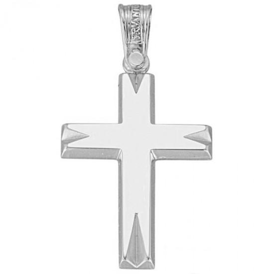 Σταυρός λευκόχρυσος Κ14 λουστραριστός και ματ για βάπτιση 1.7.1009