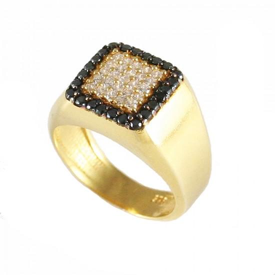 Δαχτυλίδι ασημένιο επιχρυσωμένο με τετράγωνη κεφαλή με λευκά και μαύρα ζιργκόν 4355G