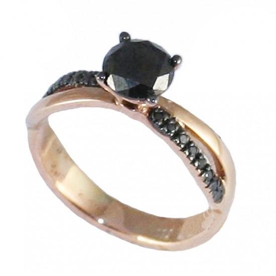 Δαχτυλίδι μονόπετρο ροζ χρυσό Κ18 με 17 μαύρα διαμάντια 1,03ct/0,11ct.
