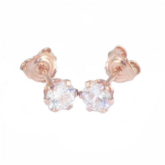 Σκουλαρίκια ροζ χρυσό Κ14 μονόπετρο και λευκά ζιργκόν