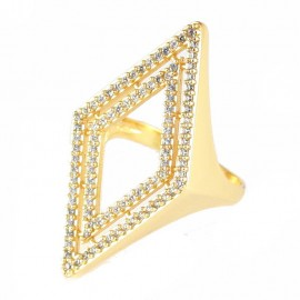 Ring Silver Rhombus Gold plated and white zircon No. 56