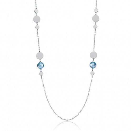 Stainless steel necklace with aquamarina color stones Necklace length 90 + 5 cm CK1465