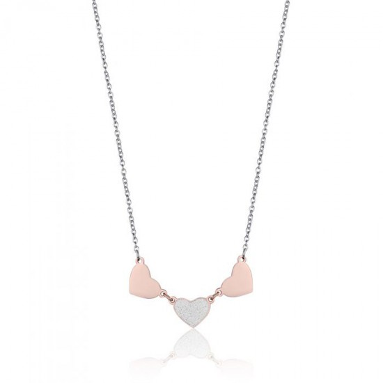 Stainless steel necklace with pink hearts and glitter CK1444