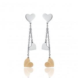 Σκουλαρίκια με καρδιές σε χρυσό χρώμα από ανοξείδωτο ατσάλι OK1052