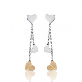 Stainless steel earrings with gold color hearts length 5.2 cm OK1052
