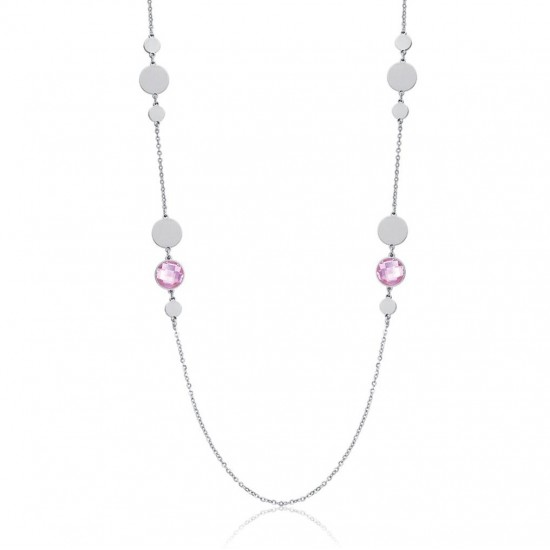 Stainless Steel necklace with rose color stones Necklace length 90 + 5 cm CK1467