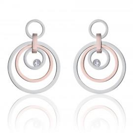 Σκουλαρίκια από ανοξείδωτο ατσάλι με κύκλους και ροζέ ατσάλι με λευκό κρύσταλλο OK1050