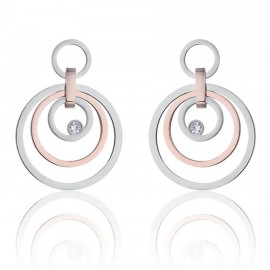 Stainless steel earrings with circles and rose steel with white crystal  OK1050