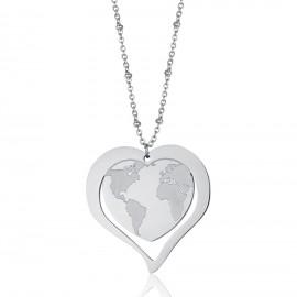 Κολιέ από ανοξείδωτο ατσάλι με σχέδιο καρδιάς και τον παγκόσμιο χάρτη CK1442