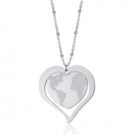 Stainless steel necklace with heart design and world map CK1442