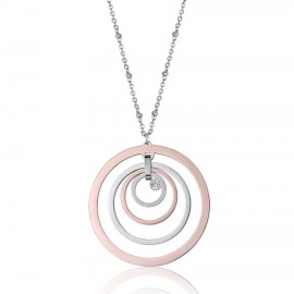 Stainless steel necklace with circles and rose steel with white crystal CK1429