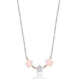 Stainless steel necklace with rose stars and glitter CK1446