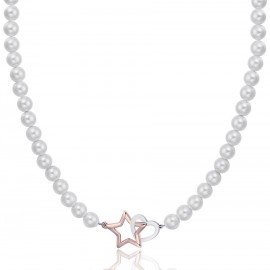 Stainless steel necklace with white pearls, steel heart and rose star CK1439