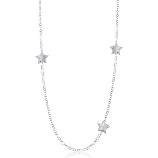 Stainless steel necklace with stars and white glitter  CK1437