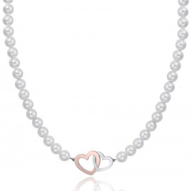 Stainless steel necklace with white pearls and steel and rose hearts CK1438
