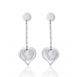 Stainless steel earrings with heart shape and earth map  OK1055