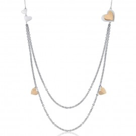 Stainless steel necklace with hearts and golden glitter Necklace length: 90 + 5 cm CK1432