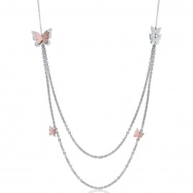Stainless steel necklace with butterflies and rose glitter CK1434
